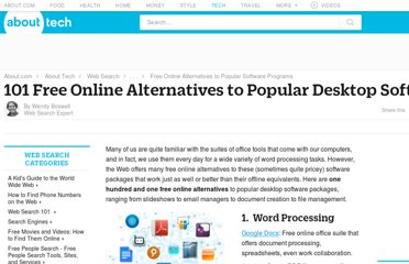 http://websearch.about.com/od/web20officealternatives/tp/101-Free-Online-Alternatives-To-Popular-Desktop-Software.htm