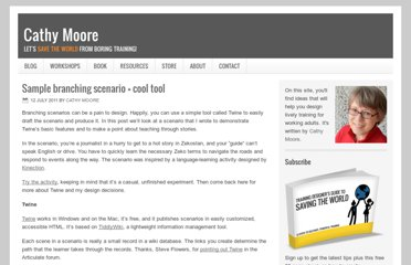 http://blog.cathy-moore.com/2011/07/sample-branching-scenario-cool-tool/