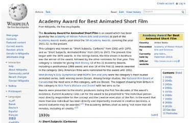 http://en.wikipedia.org/wiki/Academy_Award_for_Best_Animated_Short_Film