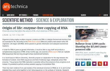 http://arstechnica.com/science/news/2011/07/origin-of-life-enzyme-free-replication-of-rna.ars