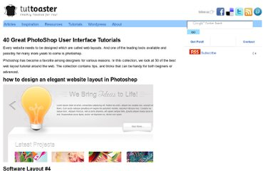 http://www.tuttoaster.com/40-great-photoshop-user-interface-tutorials/