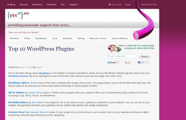 http://www.pipeten.info/2011/06/top-10-wordpress-plugins/