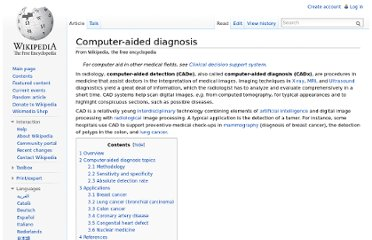 http://en.wikipedia.org/wiki/Computer-aided_diagnosis