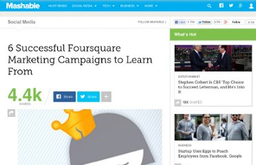 http://mashable.com/2011/07/13/foursquare-marketing-campaigns/