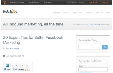http://blog.hubspot.com/blog/tabid/6307/bid/19851/20-Expert-Tips-for-Better-Facebook-Marketing.aspx