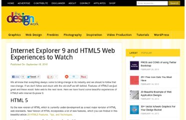 http://www.thedesignwork.com/internet-explorer-9-and-html5-web-experiences-to-watch/