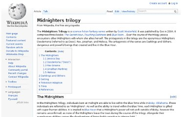 http://en.wikipedia.org/wiki/Midnighters_trilogy