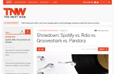 http://thenextweb.com/apps/2011/07/14/showdown-spotify-vs-rdio-vs-grooveshark-vs-pandora/