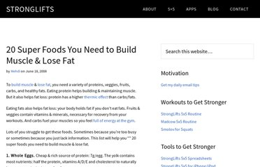 http://stronglifts.com/20-super-foods-you-need-to-build-muscle-lose-fat/