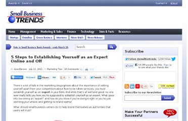 http://smallbiztrends.com/2011/07/establishing-yourself-as-expert.html