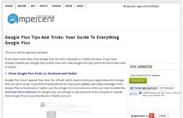 http://www.ampercent.com/google-plus-tips-tricks-shortcuts/9533/