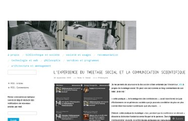 http://bibliomancienne.wordpress.com/2009/09/19/lexperience-du-tweetage-social-et-la-communication-scientifique/