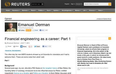 http://blogs.reuters.com/emanuelderman/2011/07/07/financial-engineering-as-a-career-part-1/