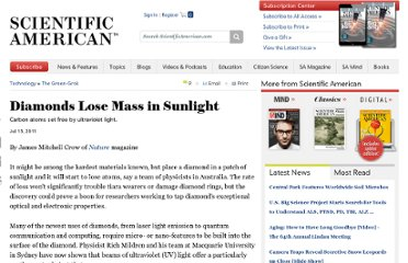 http://www.scientificamerican.com/article.cfm?id=diamonds-lose-mass-in-sunlight