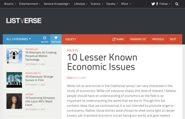 http://listverse.com/2011/07/04/10-lesser-known-economic-issues/
