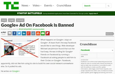 http://techcrunch.com/2011/07/15/google-ad-on-facebook-is-banned/