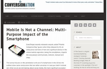 http://www.conversionation.net/2011/07/mobile-is-not-a-channel-multi-purpose-impact-of-the-smartphone/