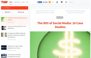 http://thenextweb.com/socialmedia/2011/07/16/the-roi-of-social-media-10-case-studies/