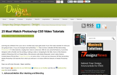 http://www.designsmag.com/2011/03/25-must-watch-photoshop-cs5-video-tutorials/