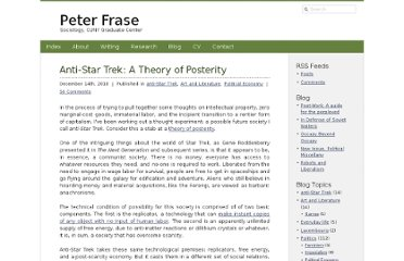 http://www.peterfrase.com/2010/12/anti-star-trek-a-theory-of-posterity/