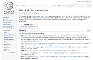 http://en.wikipedia.org/wiki/List_of_airports_in_Arizona