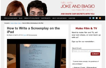 http://www.jokeandbiagio.com/how-to-write-a-screenplay-on-the-ipad