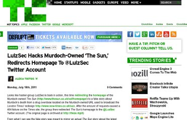 http://techcrunch.com/2011/07/18/lulzsec-hacks-the-sun-redirects-homepage-to-fake-murdoch-death-story/