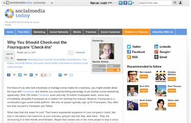 http://socialmediatoday.com/centralpawebster/318212/why-you-should-check-out-foursquare-check-ins