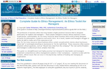 http://managementhelp.org/businessethics/ethics-guide.htm
