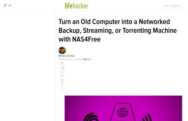 http://lifehacker.com/5822590/turn-an-old-computer-into-a-networked-backup-streaming-or-torrenting-machine-with-freenas