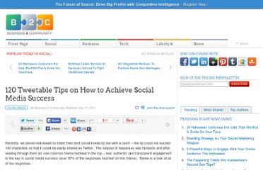 http://www.business2community.com/social-media/120-tweetable-tips-on-how-to-achieve-social-media-success-044824