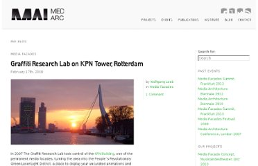 http://www.mediaarchitecture.org/graffiti-research-lab-on-kpn-tower-rotterdam/