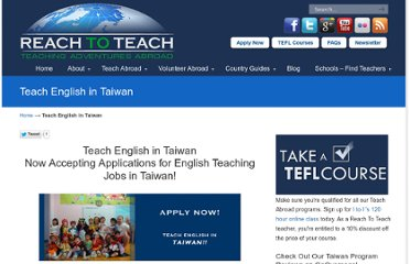 http://www.reachtoteachrecruiting.com/Teach-English-in-Taiwan.html