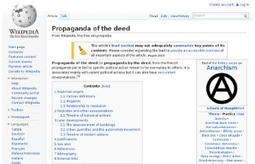 http://en.wikipedia.org/wiki/Propaganda_of_the_deed