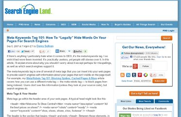 http://searchengineland.com/meta-keywords-tag-101-how-to-legally-hide-words-on-your-pages-for-search-engines-12099