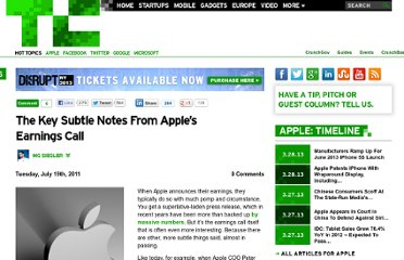 http://techcrunch.com/2011/07/19/apple-earnings-call-notes/