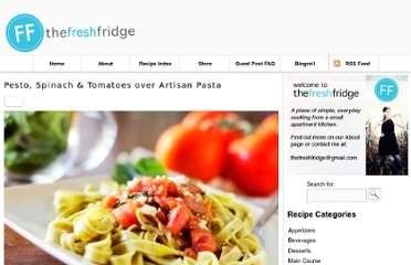 http://thefreshfridge.com/2011/07/pesto-spinach-tomatoes-over-artisan-pasta/