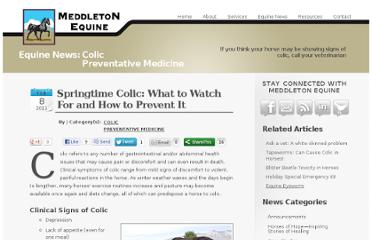 http://www.meddletonequine.com/equine-news/read/springtime-colic-what-to-watch-for-and-how-to-prevent-it