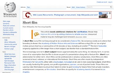 http://en.wikipedia.org/wiki/Short_film