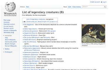 http://en.wikipedia.org/wiki/List_of_legendary_creatures_(B)
