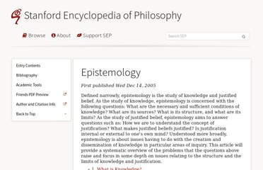 http://plato.stanford.edu/entries/epistemology/