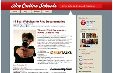 http://www.aceonlineschools.com/15-best-websites-for-free-documentaries/