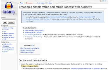 http://wiki.audacityteam.org/wiki/Creating_a_simple_voice_and_music_Podcast_with_Audacity