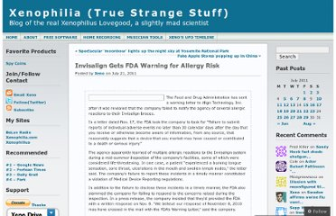 http://xenophilius.wordpress.com/2011/07/21/invisalign-gets-fda-warning-for-allergy-risk/