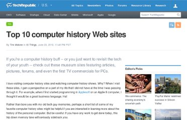 http://www.techrepublic.com/blog/10things/top-10-computer-history-web-sites/1611