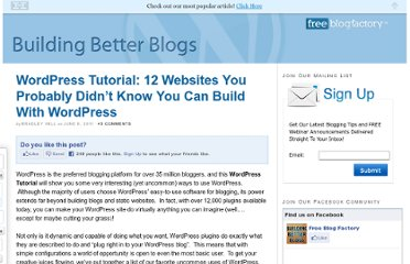 http://blog.freeblogfactory.com/12-websites-you-can-build-with-wordpress/