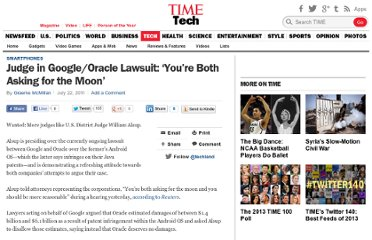 http://techland.time.com/2011/07/22/judge-in-googleoracle-lawsuit-youre-both-asking-for-the-moon/