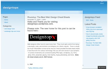 http://designtopx.wordpress.com/2009/11/13/roundup-the-best-web-design-cheat-sheets/