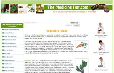 http://www.themedicinehut.com/vegetable-juices.html