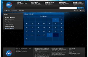 http://www.nasa.gov/missions/calendar/index.html